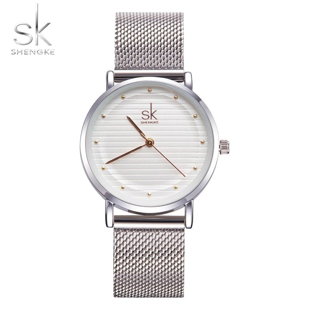 Shengke брендовые модные наручные часы Женщины из нержавеющей стали группа женское платье женские часы кварцевые-часы Relogio feminino Новый sk
