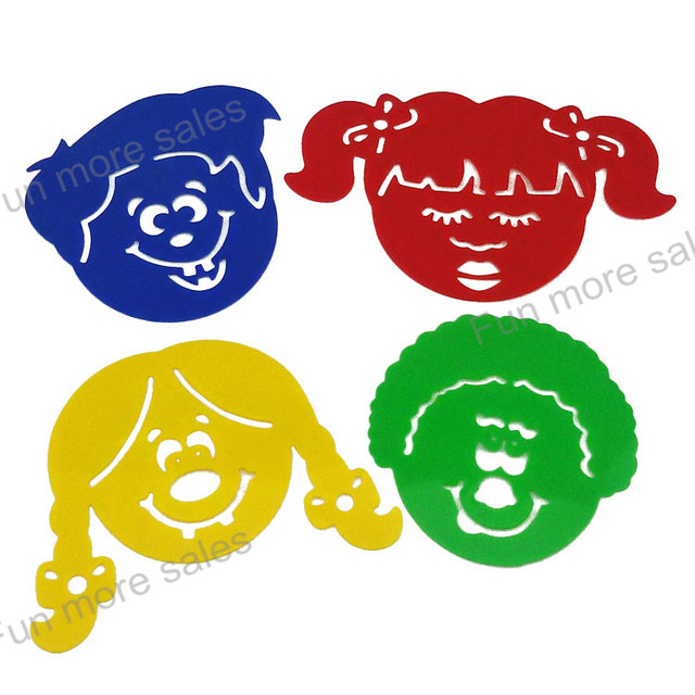 4Designs Stencils Kids drawing templates Plastic funny face painting ...