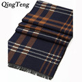 QingTeng High Quality Men's Cashmere Scarf Classic Plaid Stirp Scarve For Men Cashmere Shawls Bufandas Foulard Fashion Pashmina