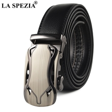 LA SPEZIA Cowhide Leather Belt For Men Automatic Buckle Male Black Formal Business Solid Vintage High Quality Brand Belts
