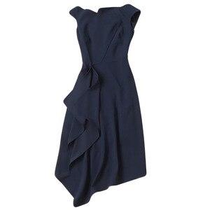 Image 4 - Kate Middleton même Station T, robe mi longue Sexy pour femmes bleu foncé, asymétrique, asymétrique, tenue de fête, nouvelle collection été 2020