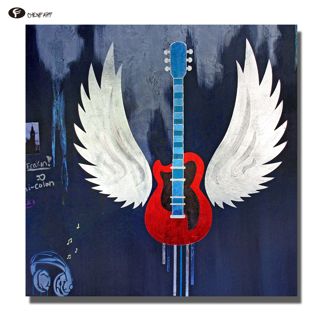 Chenfart Wall Art Canvas prints metálico guitarra pintura al óleo ...