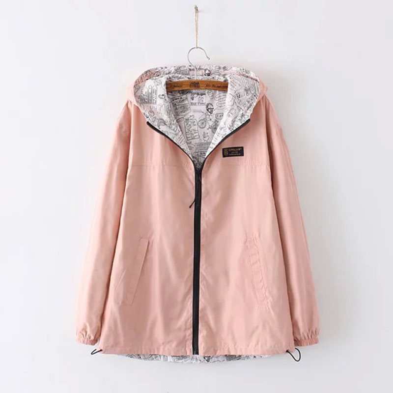 BONU Europen Plus Size 3XL Hooded Jacket Women Windbreaker bomber jacket Harajuku Hooded Long Overise Coat Women Basic Coat 1