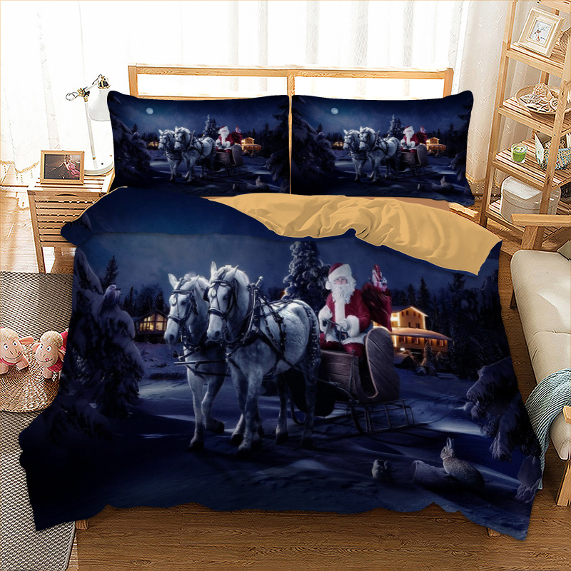 Santa Claus Bedding Set Twin Full Queen King UK Double Size Horse Duvet Cover Pillow Cases Christmas Day  Bedclothes