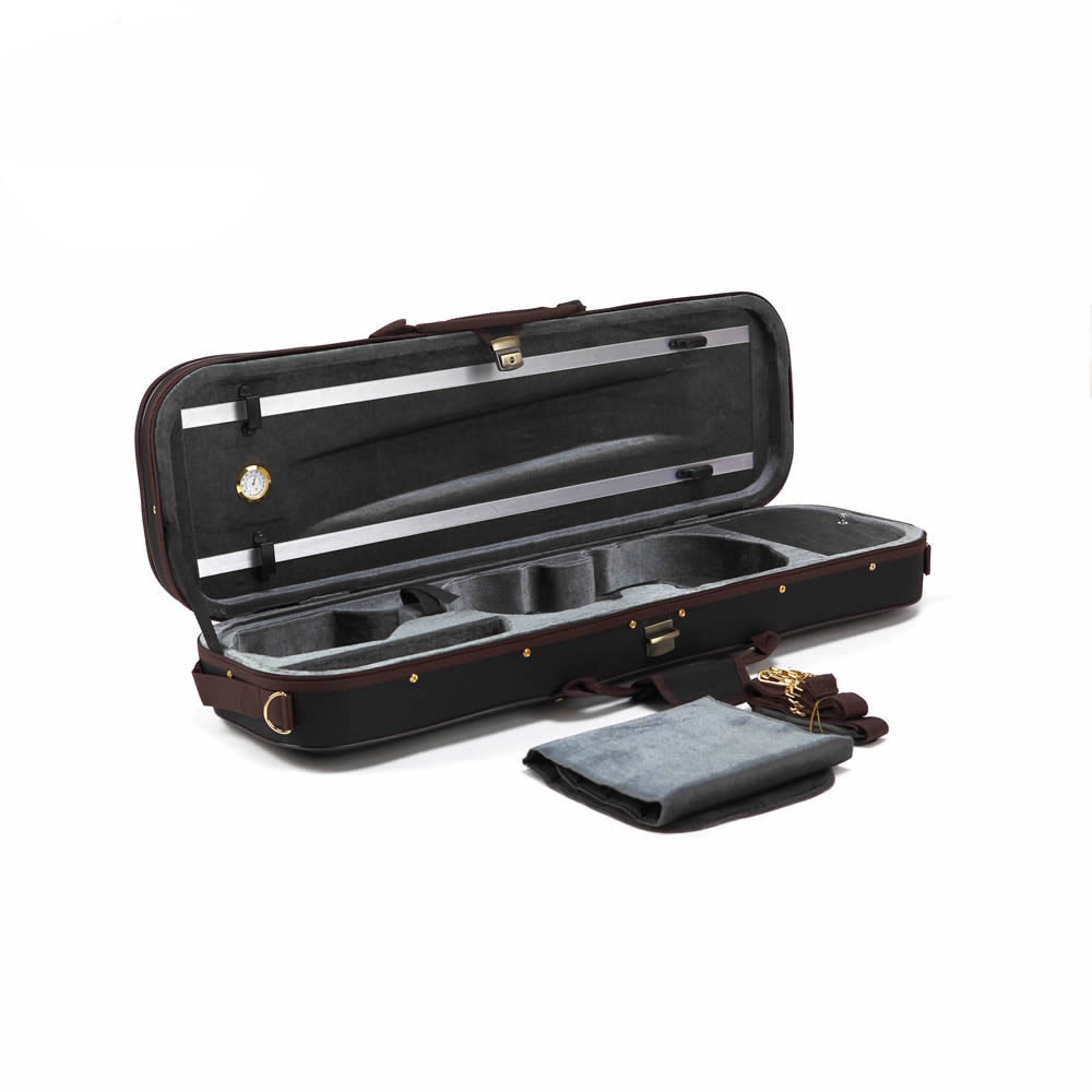 High Grade Pleuche Rectangle Violin Case 4 4 3 4 1 2 1 4 with Hygrometer