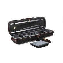 Высококачественный прямоугольный чехол для скрипки Pleuche 4/4 3/4 1/2 1/4 с гигрометром, черный Оксфордский корпус скрипки высокого качества