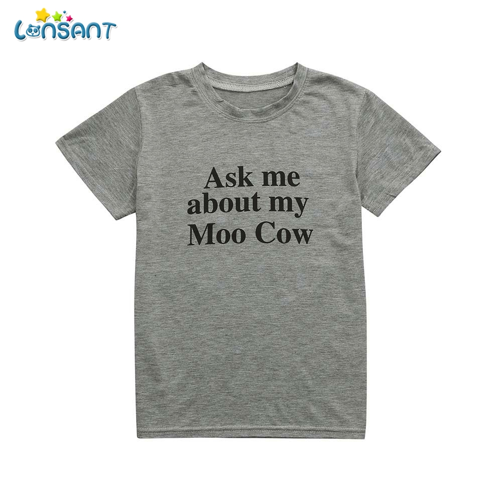 LONSANT New Arrival Summer Cute Kids Children Baby Girls Boys Gray Cow Inside Letter Soft Tops Cute Short Sleeve T-Shirt Clothes