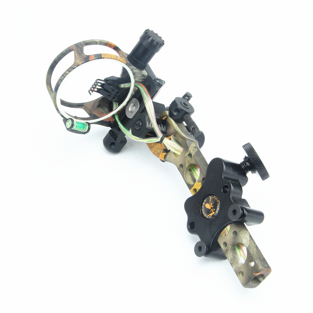 0.019 5 pins Archery Bow Sight for Compound Bow with Micro Fiber Detachable Bracket Archery Hunting Shooting Sight Light