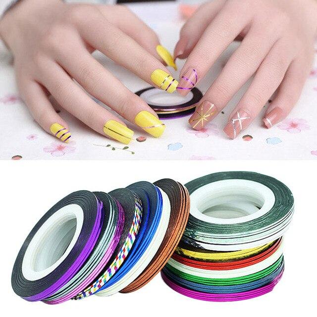 Hot New 30pcs Mixed Colors Rolls Striping Tape Line Nail Art Tips