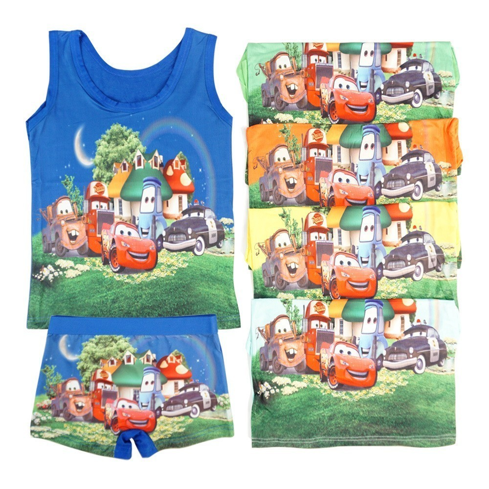 A Pyjamas Childrens Clothes Summer Cartoon Vest Underwear Boxer Baby Children Wearing