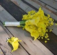 פרח מלאכותי בעבודת יד פרח פרחי אחזקות כלה לחתונה צהוב oncidium כלה לילי