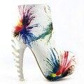 LF40603 Multicolorido Do Punk Zip Crânio Osso de Alta-top Ankle Boots de Salto Alto Plataforma Escondida