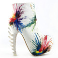 LF40603 Punk Multicolored Skull Zip High-top Bone High Heel Hidden Platform Ankle Boots