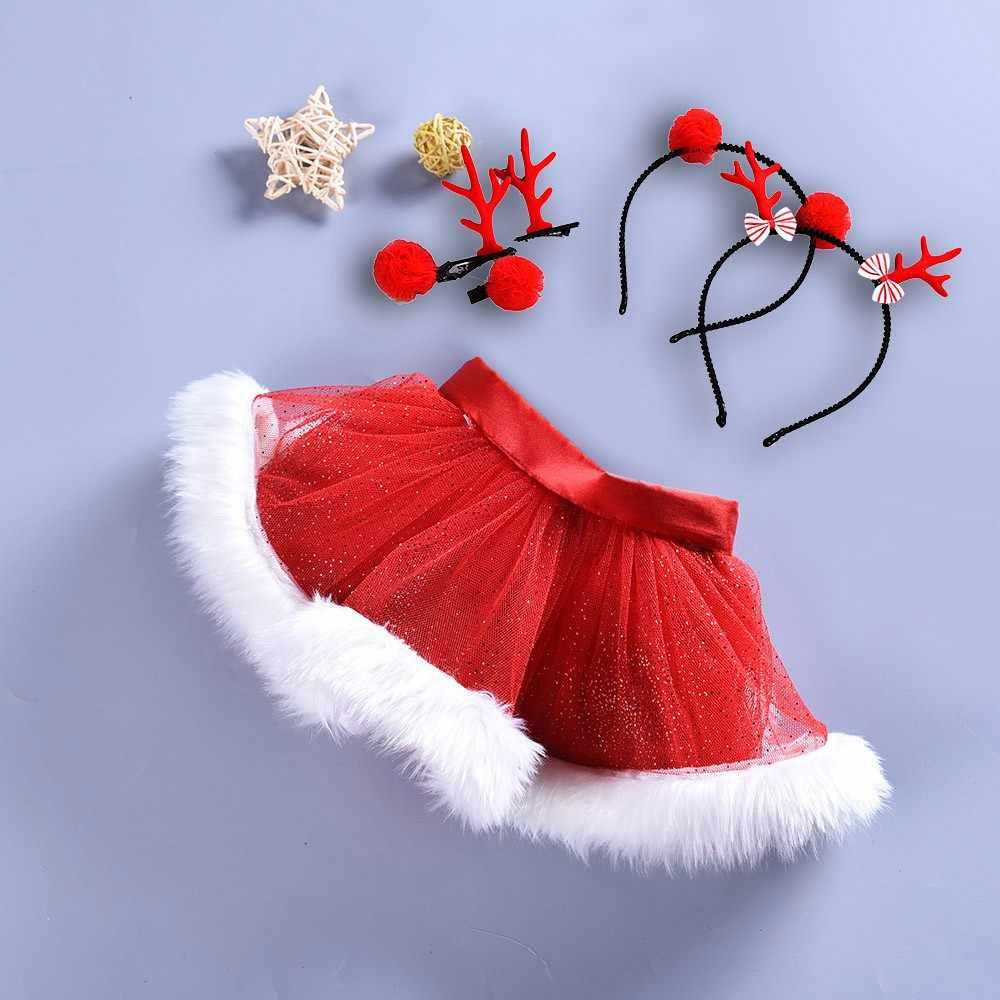 Рождественская юбка-пачка, юбки-пачки, рождественские балетные юбки-пачки для маленьких девочек, модные вечерние юбки + обруч для волос