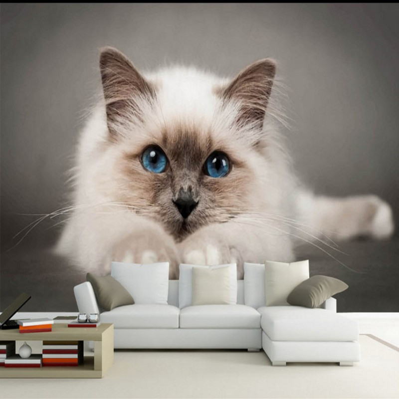 Custom 3d Wallpaper Cute Cat TV Sofa Background Wallpaper