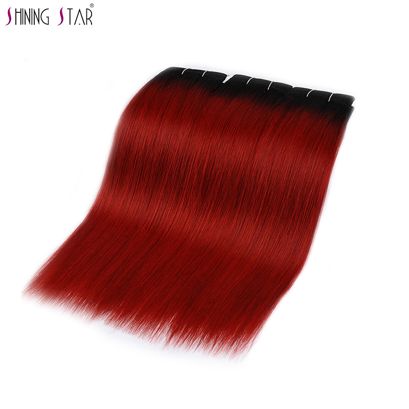 Shining Star Burgundy Ombre Brazilian Straight Hair Bundles 1B Red Colored Human Hair Weave Dark Roots Non Remy Hair 10 26 Inch