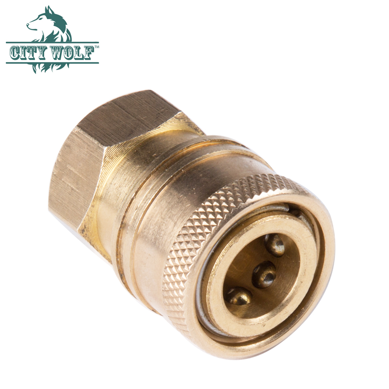 Solid G1//4 Snow Foam Lance Connector Pressure Washer Adapter Brass Gold