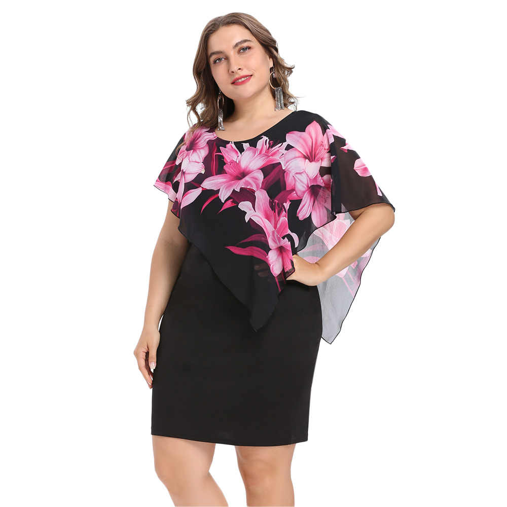6524f04c6d Wipalo Women Fashion 2018 Summer Plus Size 5XL Capelet Overlay Party Dress  Chiffon Panel O Neck Sheath Dress Vestidos Femme