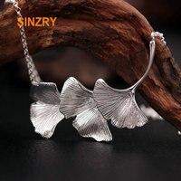 Sinzry Real 925 Sterling Silver Originally Handmade ginkgo leaf choker Necklaces women silver fine jewelry gift
