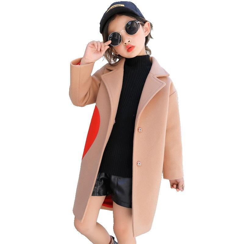 Girls Wool Blends Coats For Kids Heart Pattern Outerwear Girls Autumn Winter Jackets 4 5 6 7 8 9 10 11 12 Years Girls Cool Coat