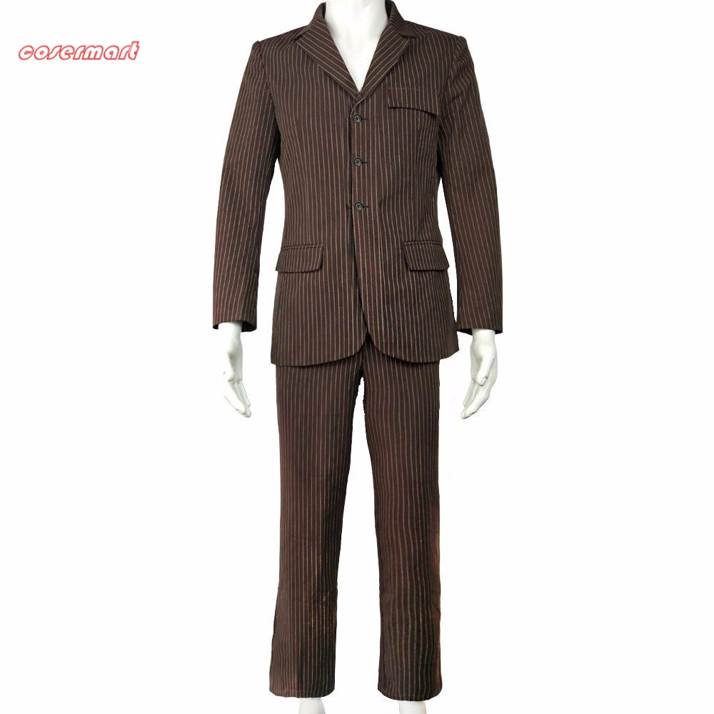 Doctor Who Dr Brown Pinstripe Business Outfit Suit Pants blazer Cosplay Costume