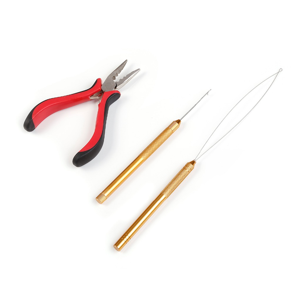 Neitsi One set Hair Tools For Ring Hair Extensions (1pc Plier Red#+1pc Copper Hook Needle+1pc Copper Loop Threader)