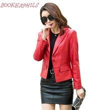 Women Pu Leather Jackets Short Slim Outwear Coat New Ladies European Casual Elegant Faux Soft Leather Suit Jacket Female Clothes