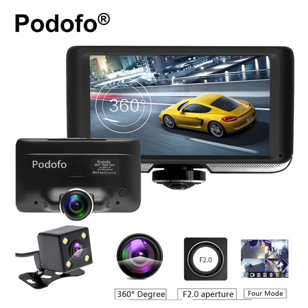 Podofo 4.0'' IPS Touch Screen 360 degree Full HD Car DVR Camera Dual Lens Dash Cam with Rear View Registrar Fisheye Lens Dvrs podofo dual backup camera