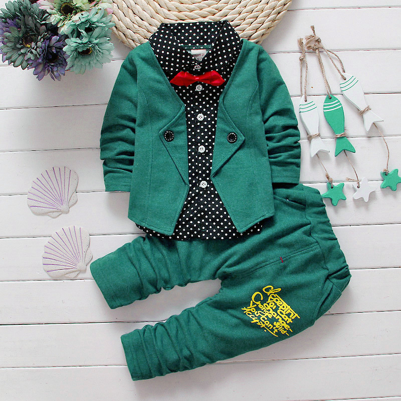 Baby Boys Spring Casual Clothing Set Baby Kids Button Letter Bow Clothing Sets Babe Autumn jacket+pant 2-Piece Suit Set 1