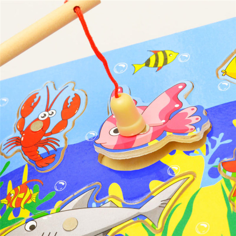Wooden Magnetic Ocean Fishing Toy Game & Jigsaw Puzzle Board Juguetes Fish Magnet Toy Educational Outdoor Fun For Child Gift