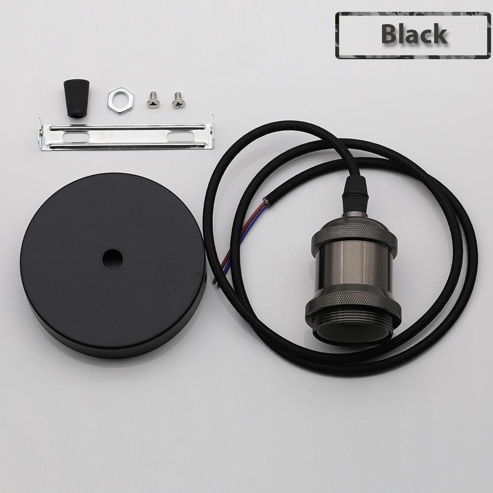 Винтажные подвесные светильники E27 патрон лампы 110V 220V винт переключения установки e27 Цоколи лампы Ретро держатель лампы edison - Цвет: Black