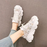 2019 Summer New Lace Breathable Sneakers Women Shoes Comfortable Casual Woman Platform Shoes white sneakers