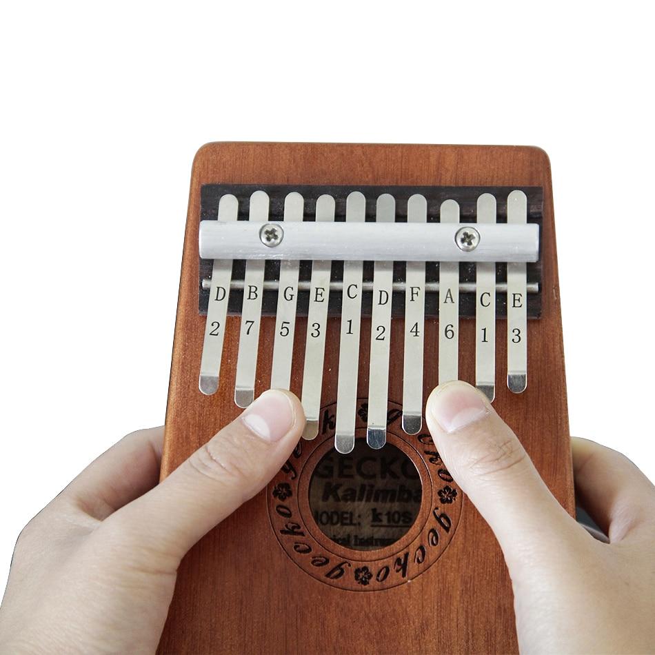 BATES MUSIC Gecko 10 Key Kalimba African Thumb Piano Finger Percussion Keyboard Music Instruments Kids Marimba Wood