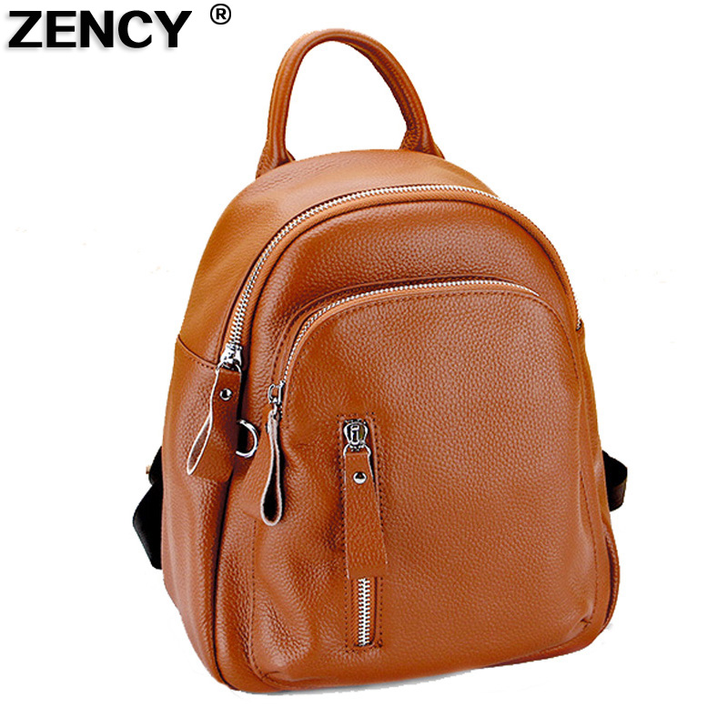 ZENCY Fashion Famous Brand Small Genuine Real Leather Women Top Layer Cowhide First Layer Cow Skin Ladies Backpacks Bags Girls zency genuine leather backpacks female girls women backpack top layer cowhide school bag gray black pink purple black color