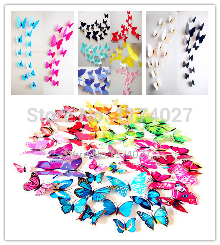 Free shipping 12pcs 6 big+ 6 small PVC 3d Butterfly Tatoos Wall Sticker Home Decoration Decals rysunek kolorowy motyle