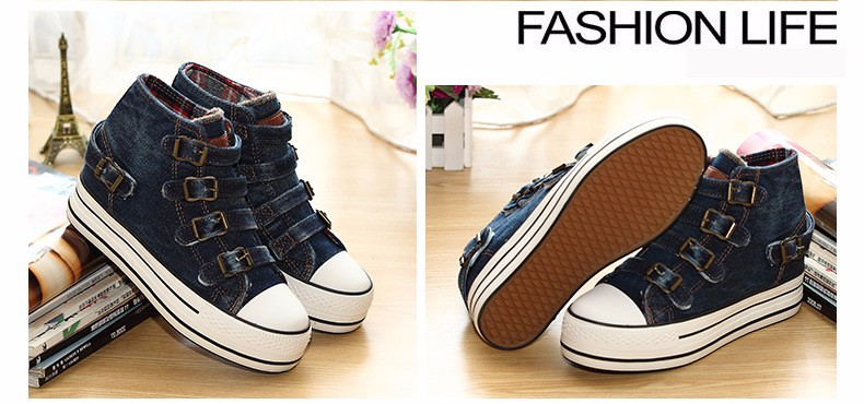 High Top Women Denim Shoes Espadrilles 2016 Fashion Autumn Hide Wedges Canvas Womens Shoes Lace Up Casual Shoes Sapatilha YD135 (17)