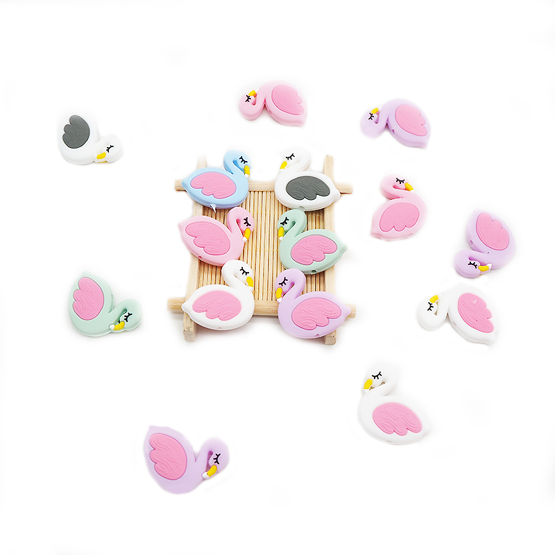 Chenkai 50PCS Silicone Mini Flamingo Teether Beads Baby Food Grade Teething BPA Free For Baby Soothing Pacifier Clip Accessories