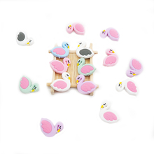Chenkai 50PCS Silicone Mini Flamingo Teether Beads Baby Food Grade Teething BPA Free For Soothing Pacifier Clip Accessories