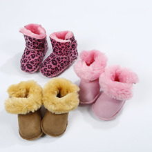 Winter New Arrival Baby Fur Boots Newborn Infant Warm Shoes 12colors Boys Girls Kids Genuine Leather First Walker