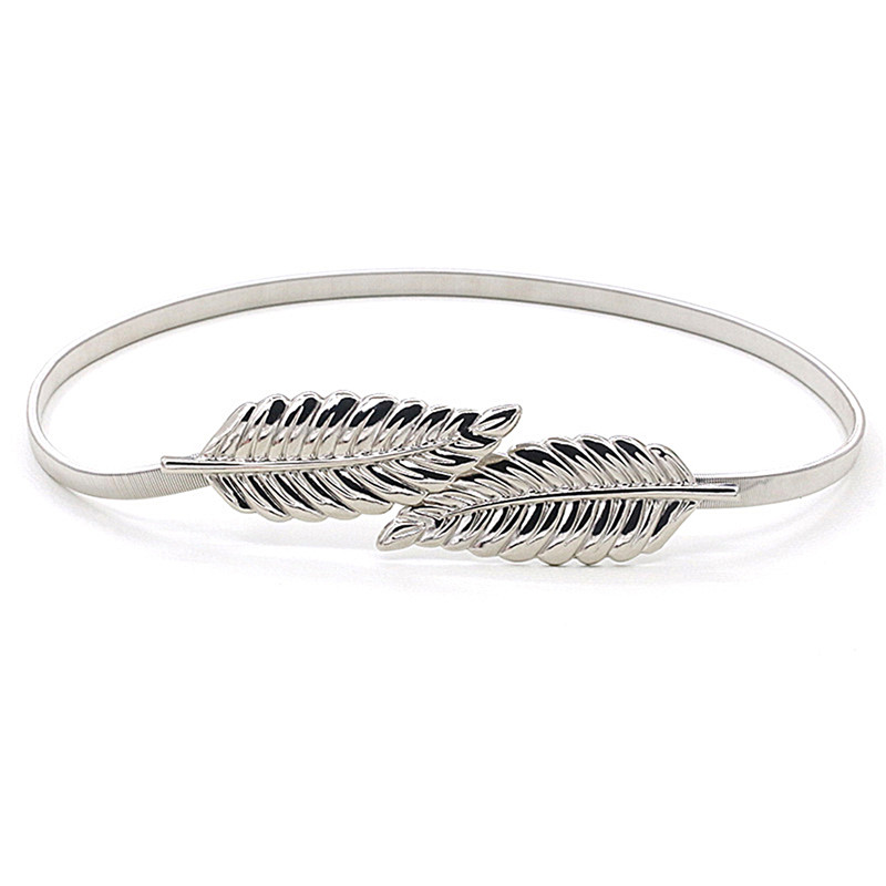 Apparel Accessories Open-Minded Leaf Shape Belt Metal Leaves Cummerbund Clasp Front Stretch Waistband Gold Silver Elastic Waist Belt Leaves Chain Belts