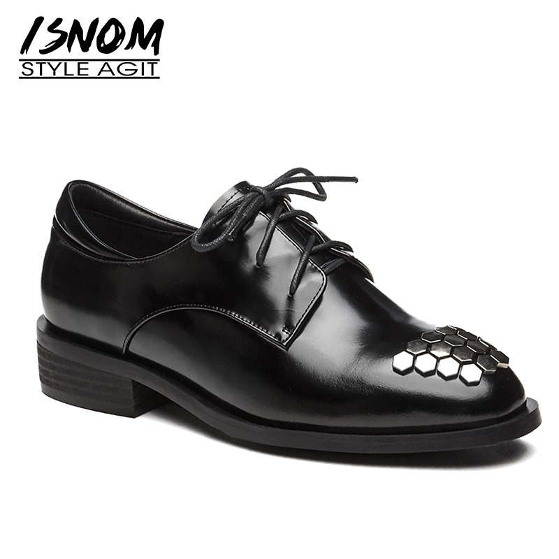 ISNOM Thick Low Heels Pumps Women Square Toe Footwear Lace Up Patent Leather Shoes Female Stud Shoes Woman 2019 New Spring Black