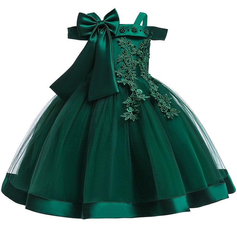 Новинка; стильное платье на бретельках с одним персонажем для свадебной вечеринки для девочек; бальное платье с бантом и жемчужинами и цветами для банкета; vestidos - Цвет: green