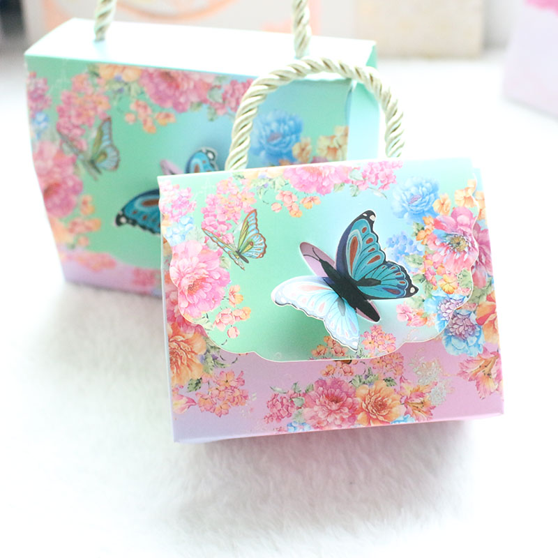 AVEBIEN 20pcs Hot Beautiful Butterfly And Flower Wedding Candy Box Candy Bag Baby Shower Wedding Favors Chocolate Paper Gift Box