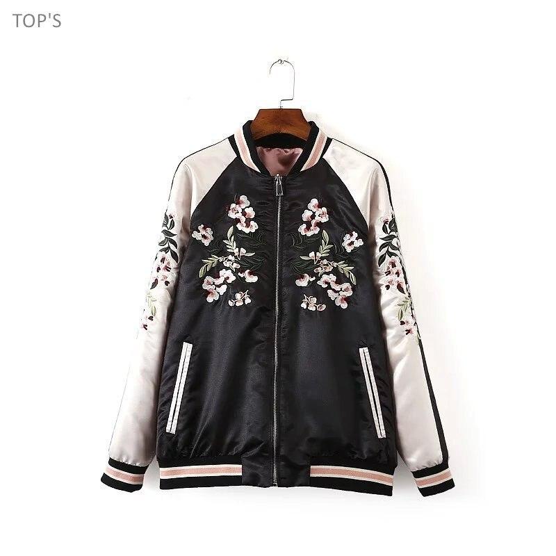 91a6d9233 US $31.88 29% OFF|2019 Women Reversible Coat Embroidery Flower Phoenix Bird  Jacket Contrast Sleeve Bomber Jacket Coat Pilots Outerwear-in Basic ...
