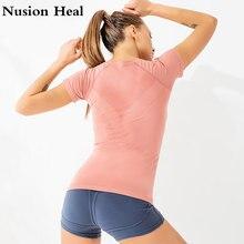 Yoga Tops Seamless Shirts Short Sleeve Crop Top Women Sport Shirt Sports Gym Tshirt