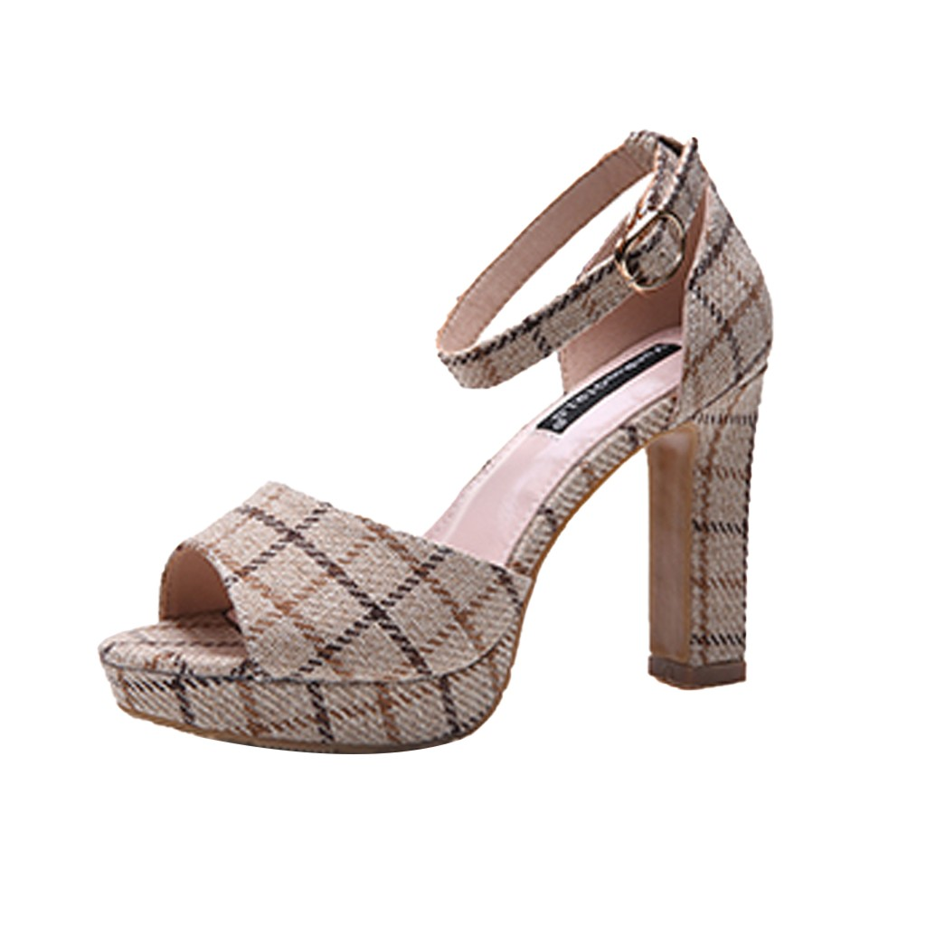 SAGACE Womens Summer Plaid Sandals Cloth Sexy High Quality Outsid Ladies Shoes Color Matching High Heels Shoes PlatformSAGACE Womens Summer Plaid Sandals Cloth Sexy High Quality Outsid Ladies Shoes Color Matching High Heels Shoes Platform