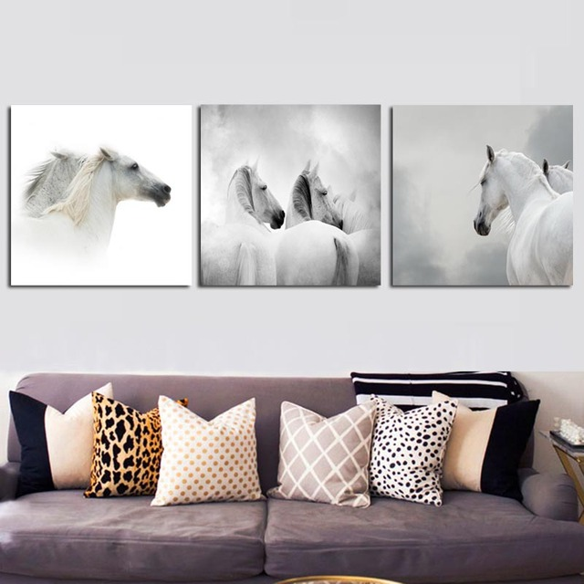 Koń Czarno Białe Abstrakcyjne Tryptyk Płótno Malarstwo Nowoczesne