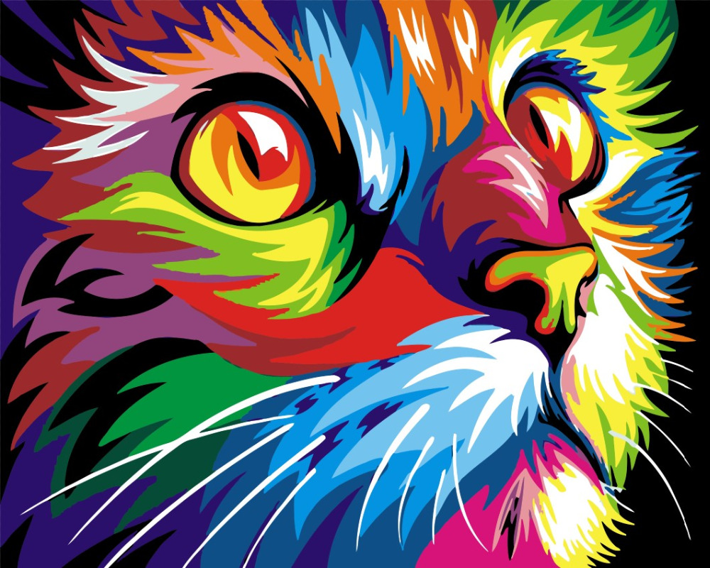Frameless Colorful Cat DIY Painting By Numbers Abstract Modern Wall Art Picture Kits Coloring ...
