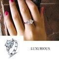 3 ct Cz Anéis de Diamante Para As Mulheres 925 Libras Esterlinas Genuína Anel de Noivado De prata de Luxo Bridal Jóias Três Pedra do Amor Promessa anel