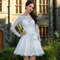 Vintage A Line Lace Wedding Dress Knee Length Scoop Bridal Gown Sexy Lone Sleeve 2017